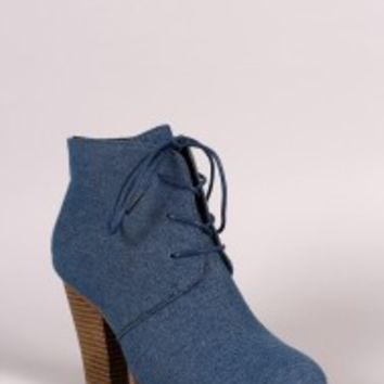 Liliana Denim Almond Toe Chunky Heel Booties