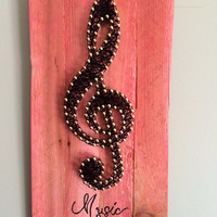 "Music note art, treble clef art, music room art, home decor, string art, 11 by 6"", music quote, gift idea"