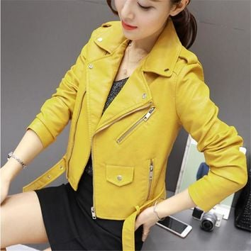 Autumn and winter new ladies pu leather leather jacket jacket Korean 2XL 3XL women's PU washed punk fan women's leather jacket