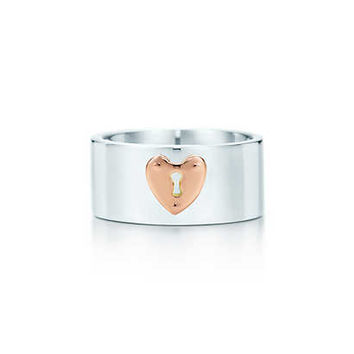 Tiffany & Co. - Tiffany Locks heart lock ring in sterling silver and 18k rose gold.