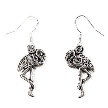 Flamingo Dangle Earrings Vintage Silver Tone Tropical Miami Florida Bird ED48 Fasion Jewelry