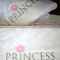 PRINCE OR PRINCESS baby bumper-baby pink or baby blue pleated grossgrain ribbon ending and ribbon ties-White cotton 100% top quality fabric