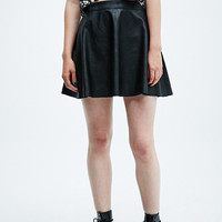 Pins & Needles Faux Leather Skater Skirt in Black - Urban Outfitters