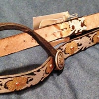 CUSTOM HANDPAINTED HEADSTALL made by Rockstar Custom Leather