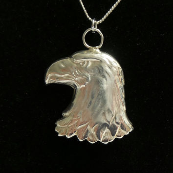"Vintage Tiffany & Co Sterling Silver 925 Eagle Pendant w/ 16"" Chain Necklace"