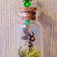Fairy in a Bottle, Fairy Necklace, Fairy Jewelry, Terrarium Necklace, Fairy Terrarium, Mini Terrarium, Moss Necklace, Swavorski crystal