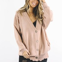 Just Be Jealous Blush Boyfriend Cardigan