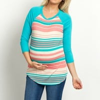 Mint-Green-Colorblock-Sleeve-Striped-Maternity-Top