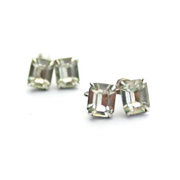 Art Deco Sterling Earrings Silver Screw Backs / b3