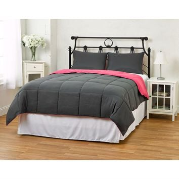 Full/Queen size 3-Piece Grey Pink Microfiber Comforter Set with 2 Shams