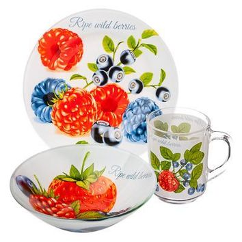 Kawaii romantic Round Mini Cartoon fruit flowers children Dish Plate set of tableware glass for dinner 877-566