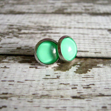 Candy Green Stud Earrings : Glass Jewelry