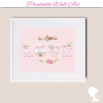 Printable Wall Art 8x10 - LOVE with vintage flower bouquets in pastel pink
