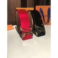 LV Louis Vuitton 201 new simple classic letter buckle smooth buckle belt