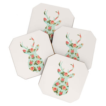 Allyson Johnson Floral Deer Silhouette Coaster Set