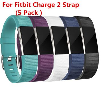 (5 Pack )Replacement Silicone Rubber Band Strap Wristband Bracelet For Fitbit CHARGE 2 Small or Large Size