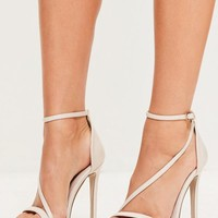 Missguided - Nude Asymmetric Strappy Sandals