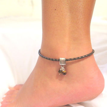 Leather Anklet, Ankle bracelet, Brown bracelet, Body jewelry, Anklet, Anklets for women, Summer jewelry, Foot jewelry, Silver leather, Brown