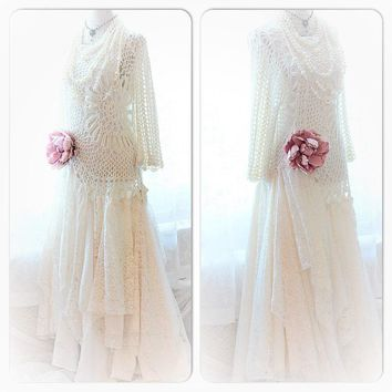 Vintage crochet Maxi Dress, Boho bridal gown, True rebel clothing