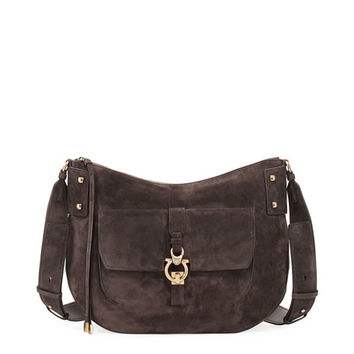 Salvatore Ferragamo Fiona Large Suede Saddle Bag, Brown