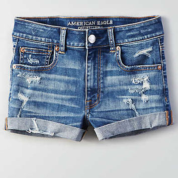 AEO Denim X Hi-Rise Shortie, Light Repair