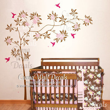 wall decal flower tree with humming bird Office wall decal Childrey wall sticker Kid - Z195 Cuma