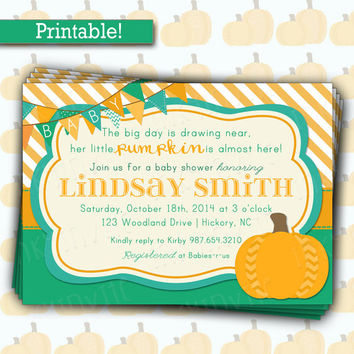 Cute Little Pumpkin Baby Shower Invitation | Baby Boy Pumpkin Shower Invite |  Fall Bright Colors Invite