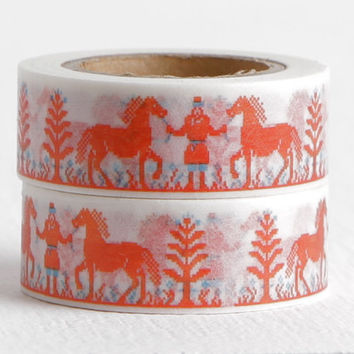 Red Horse Washi Tape, Embroidery Style Pixelated Red Pony and Man, Red and Blue Washi, 15mm