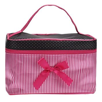 1PCS Portable Travel Toiletry Bow Stripe Makeup Cosmetic Bag Organizer Holder Handbag use for make up Set Kits