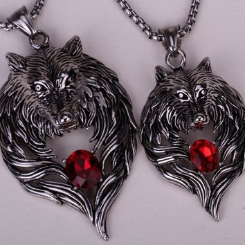 SHIPS FROM USA Couple necklace stainless steel wolf pendants W/ chain valentine day gifts 316L GN41