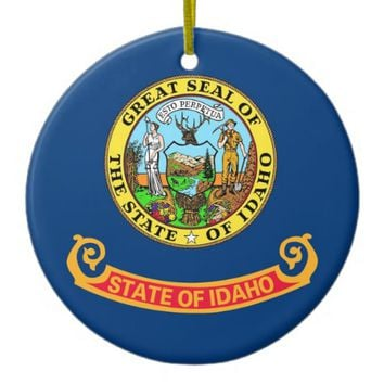 Ornament with flag of Idaho