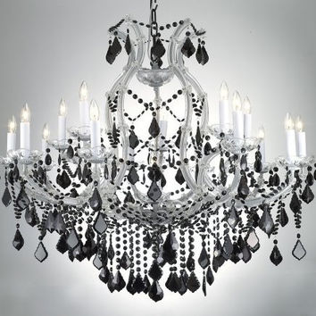 "New! MARIA THERESA CHANDELIER CRYSTAL LIGHTING H38"" x W37"" W/ JET BLACK CRYSTAL! - A83-SILVER/21510/15+1/BLACKCRYSTAL"