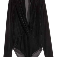 Velour body - Black - Ladies | H&M GB