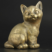 Hand Made Brass Life Like Cat Statue