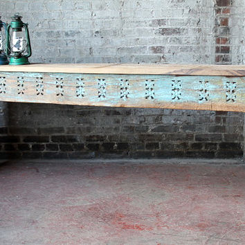 Reclaimed Console Table Salvaged Indian Architectural Elements Jodhpur Blue Carved Wood Media Stand