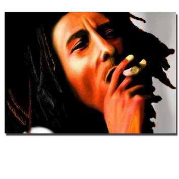 HD Canvas Art New Bob Marley Smoking Canvas Painting Wall Art Prints Decorations for Living Room Home Wall Poster Painting