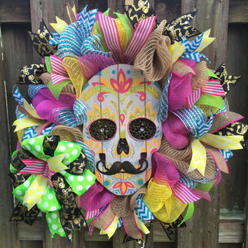 Sugar Skull Wreath,Day of the Dead Wreath, Skull Wreath,Halloween Wreath,Dia De Los Muertous,Sugar Skull,Day of the Dead,Deco Mesh Wreath