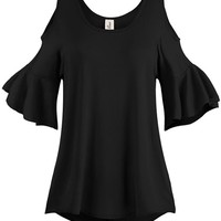 Women's Pleated End Wide Cold Shoulder Tunic Tops