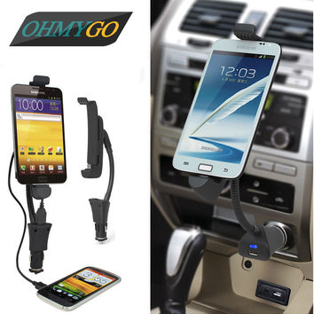 Car Phone Holder Mount 3.1A Fast USB Charger Stand Cradle Cigarette Lighter for Samsung Galaxy Lenovo Xiaomi etc Smartphones
