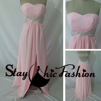 Long Pink Strapless Sheer Back Lace Appliqued Waist Chiffon Prom Dress with Slit