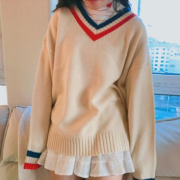 Autumn and winter women Korean version College wind  loose fitting base models v-collar collision color simple Sweaters