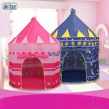 ICIKL3Z New Arrival Portable Blue Pink  Prince Folding Tent Kids Children Boy Castle Cubby Play House For Kids Best Gift