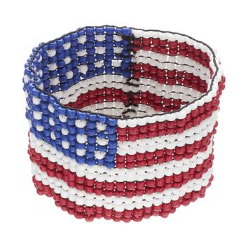 American Flag Seed Bead Stretch Bracelet