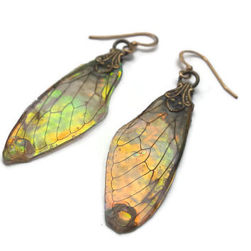 Fairy Wing Earrings - Iridescent Wings - Fantasy Jewelry - Gift for Her - Gold Earrings - Aurora Borealis