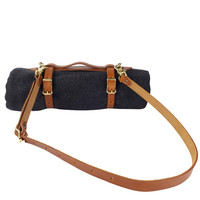 Leather Blanket Carrier with Saddle Blanket