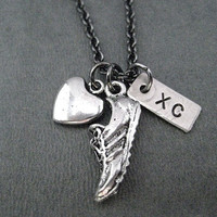 Love to Run XC Cross Country Necklace - 3 Pendants on Gunmetal Chain - Cross Country Team - XC Summer Practice - XC Team - Cross Country