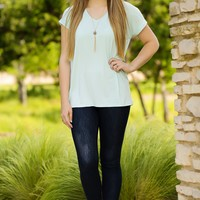 KLR Perfect Piko V-Neck - Mint | Tops | Kiki LaRue Boutique