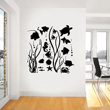 Ocean Sea Life with Fish, Turtle, Seahorse and Bubbles Vinyl Wall Words Decal Sticker Graphic