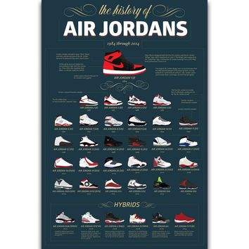 S1123 Michael Jordan MJ Shoes History Sneaker Wall Art Painting Print On Silk Canvas Poster Home Decoration