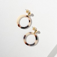 Mini White Tortoise Shell Cutout Earrings